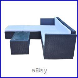 Outdoor Garden Rattan Corner Sofa Table Furniture Set Patio Conservatory 2 Color