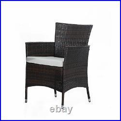 Outdoor Garden Rattan Furniture Cube Dining Set Rectangular Table 6 Chairs Brown