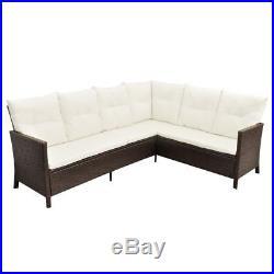 Outdoor Lounge Set Poly Rattan Garden Table Sofa Furniture 19 Pieces Patio Brown