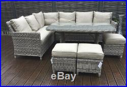 Outdoor Patio Rattan Garden Furniture Set Corner Sofa Table Chairs Aluminium