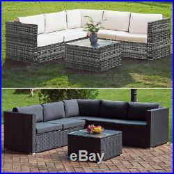 Outdoor Rattan Corner Sofa Table Set 6 Seater Garden Furniture Patio PE Wicker