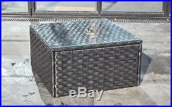 Outdoor Rattan Garden Furniture 5 Seater Corner Sofa Patio Set Black coffeetable