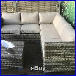 Outdoor Rattan Garden Furniture Corner Sofa Set Patio Lounge Brown