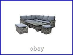Outdoor Rattan Garden Furniture Dining Set with RISING Table Patio Sofa 10 Seat