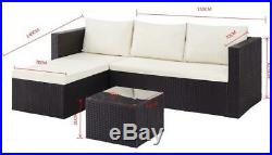 Outdoor Sofa Set Garden Furniture Black Grey or Dark Brown Table, Chaise, Sofa