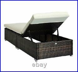 Outsunny 2 pcs Rattan Garden Furniture Set Recliner Bed Patio Sun Loungers