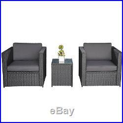 Outsunny 3PC Patio Bistro Set 2 Seater Rattan Sofa Table Garden Furniture Wicker