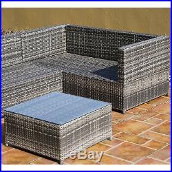 Outsunny 3Pcs Rattan Corner Sofa Set Coffee Table Garden Furniture with Cushion