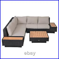 Outsunny 4PC Rattan Sofa Set Garden Furniture Coffee Table Chairs Conservatory