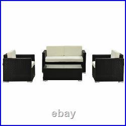 Outsunny 4PC Rattan Sofa Set Outdoor Coffee Table Chair Wicker Garden Furniture