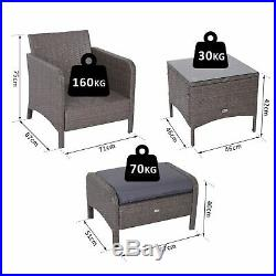 Outsunny 5Pcs Outdoor Rattan Furniture Set Footstool Coffee Table Garden