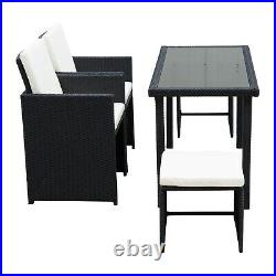 Outsunny 5 Pieces Rattan Wicker Set Coffee Chair Table Garden Cushion Furniture