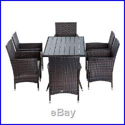 Outsunny 7PC Rattan Dining Furniture Wicker Table Chair Outdoor Garden Brown