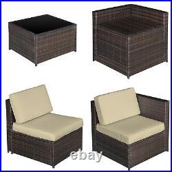 Outsunny 8Pcs Patio Rattan Sofa Set Garden Furniture Coffee Side Table withCushion