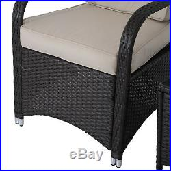Outsunny Garden Furniture Rattan Sofa Bistro Set Patio Table Chairs Conservatory
