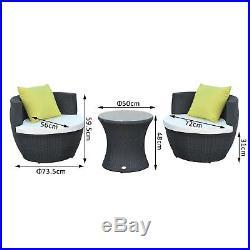 Outsunny Garden Rattan Furniture 3pc Vase Stackable Chair Tea Table Set Cushion