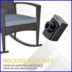 Outsunny Garden Rattan Rocking Chair Garden Furniture Patio Recliner