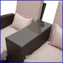 Outsunny Outdoor Garden Rattan Sofa Lounger Recliner Wicker Patio Furniture Set