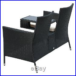 Outsunny Rattan Companion Seat Garden Furniture Table Chair Patio Loveseat Bench