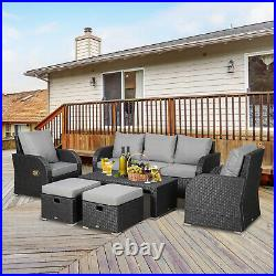 Outsunny Rattan Garden Furniture 7 Seater Sofa & Coffee Table Footstool Set-Grey