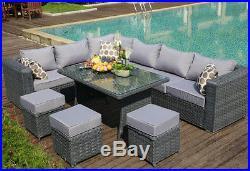 PAPAVER RANGE 9 Seater Rattan Corner Sofa &Dining Set Garden Furniture grey