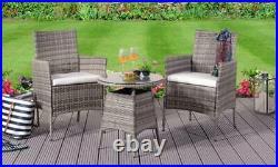 PRESALE 3PC Rattan Bistro Set Patio Garden Furniture 2 Chairs & Coffee Table