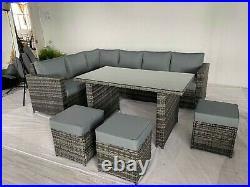 PRE ORDER FOR APRIL 2021- Rattan Garden Furniture Corner Sofa Dining Table Set