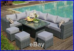 Papaver 9 seater fully assembled Rattan Garden Patio Furniture Sofa set Grey