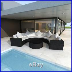 Patio Garden Sofa Bench Set 21 Pieces 5 Seater Cafe Tea Table Half-Round Rattan