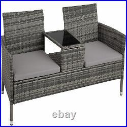 Poly Rattan Bench Glass Table Garden Furniture 2 Seats Wicker Patio Balcony New