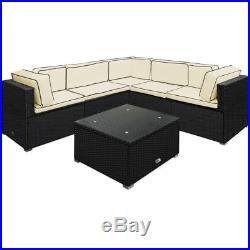 Poly Rattan Corner Sofa Garden Furniture Set Outdoor Conservatory Patio Weave