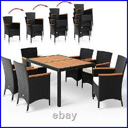 Poly Rattan Dining Table Chairs Set 6 Seater Patio Garden Furniture Black Wicker