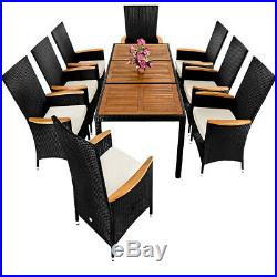 Poly Rattan Dining Table Chairs Set Garden Furniture Wooden 8 Seats Patio Black