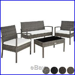 Poly Rattan Garden Furniture 2 Chairs Bench Table Set Outdoor Patio Wicker New