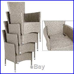 Poly Rattan Garden Furniture Dining Table Chairs Set Grey Beige Outdoor Wicker