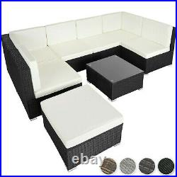 Poly Rattan Garden Furniture Lounge Set Seater Table Wicker Patio Balcony New