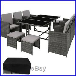Poly Rattan Garden Furniture Set Dining 6 Chairs 4 Stools 1 Table Outdoor Grey