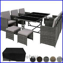 Poly Rattan Garden Furniture Set Dining Wicker Seater 6 Chairs 4 Stools Table