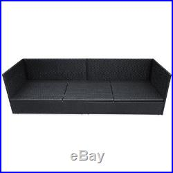 Poly Rattan Garden Recliner Sun Lounger Day Bed Outdoor Sofa Bench Black Wicker