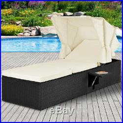 Poly Rattan Lounger Sun Day Bed Outdoor Garden Patio Deck Furniture Single Black