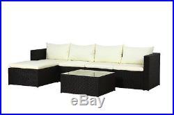 Poly Rattan Outdoor Garden Furniture Set Black Miami Cushion Patio Lounge New
