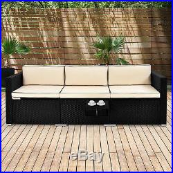 Poly Rattan Sofa Lounge Recliner Couch Bench Furniture Outdoor Garden Wicker
