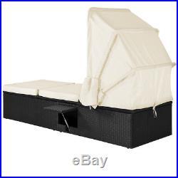 Poly Rattan Sun Lounger Garden Patio Outdoor Furniture Black Single Recliner