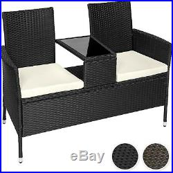 Poly rattan bench with glass table garden furniture 2 seats wicker patio new