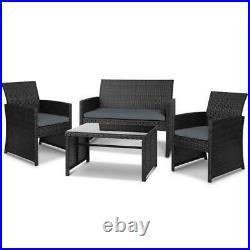 Premium New Garden Rattan Furniture Set 4 Piece Chairs Sofa Table Outdoor Patio