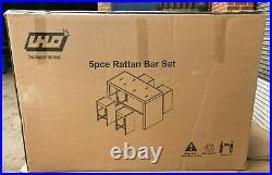 RATTAN 5pce BAR SET GARDEN PATIO FURNITURE- GREY RATTAN