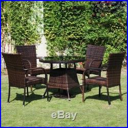 RATTAN GARDEN FURNITURE DINING TABLE AND 4 CHAIRS DINING SET OUTDOOR PATIO 5pc