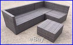 Rattan 4 Seater Corner Garden Furniture L Shape Sofa Set Grey with stool / table