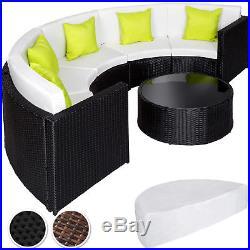 Rattan Alu Garden Half Circle Sofa Table Set Outdoor Wicker Lounge Furniture