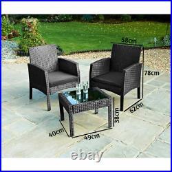Rattan Armchair Bistro Set 2 Chairs & Table Garden Furniture Outdoor Patio Set